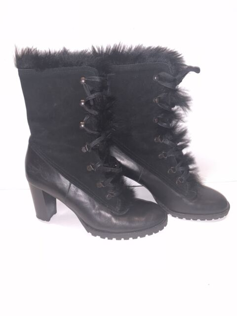 Coach Womens Black Fur Suede Leather Heeled Boots - Size 8.5