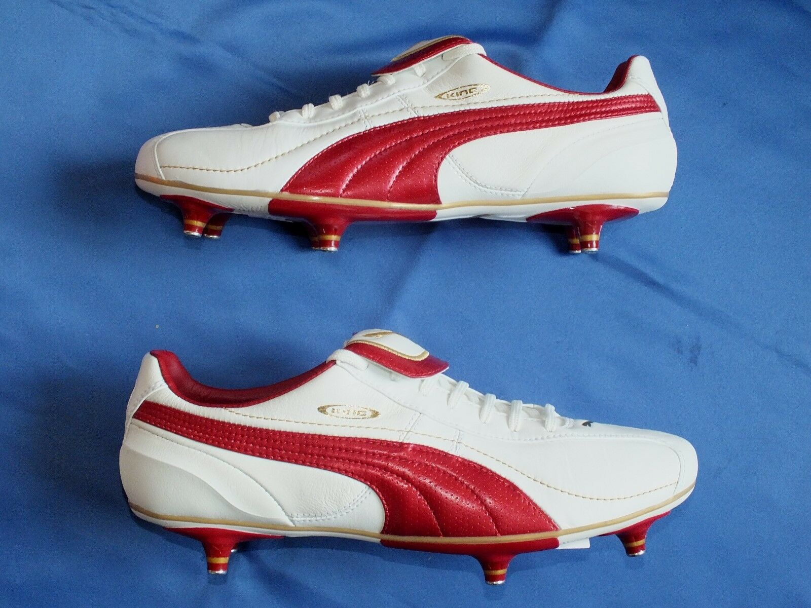 New Puma Retro Soft Ground Leder Grass Weiß ROT & Gold Leder Ground Football Stiefel UK 9 e257ba