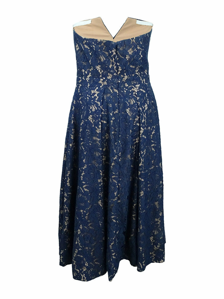 Fame Fame Fame and Partners Strapless Lace Midi Dress (0, Navy) 645fdb