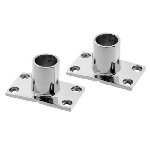 "2x Stainless Boat Handrail Rectangular Base 90 Degree Rail Fitting 7//8/"" 22mm"