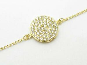 Yellow-Gold-Sterling-Silver-925-White-Sapphire-Pave-Disk-Coin-Ankle-Bracelet