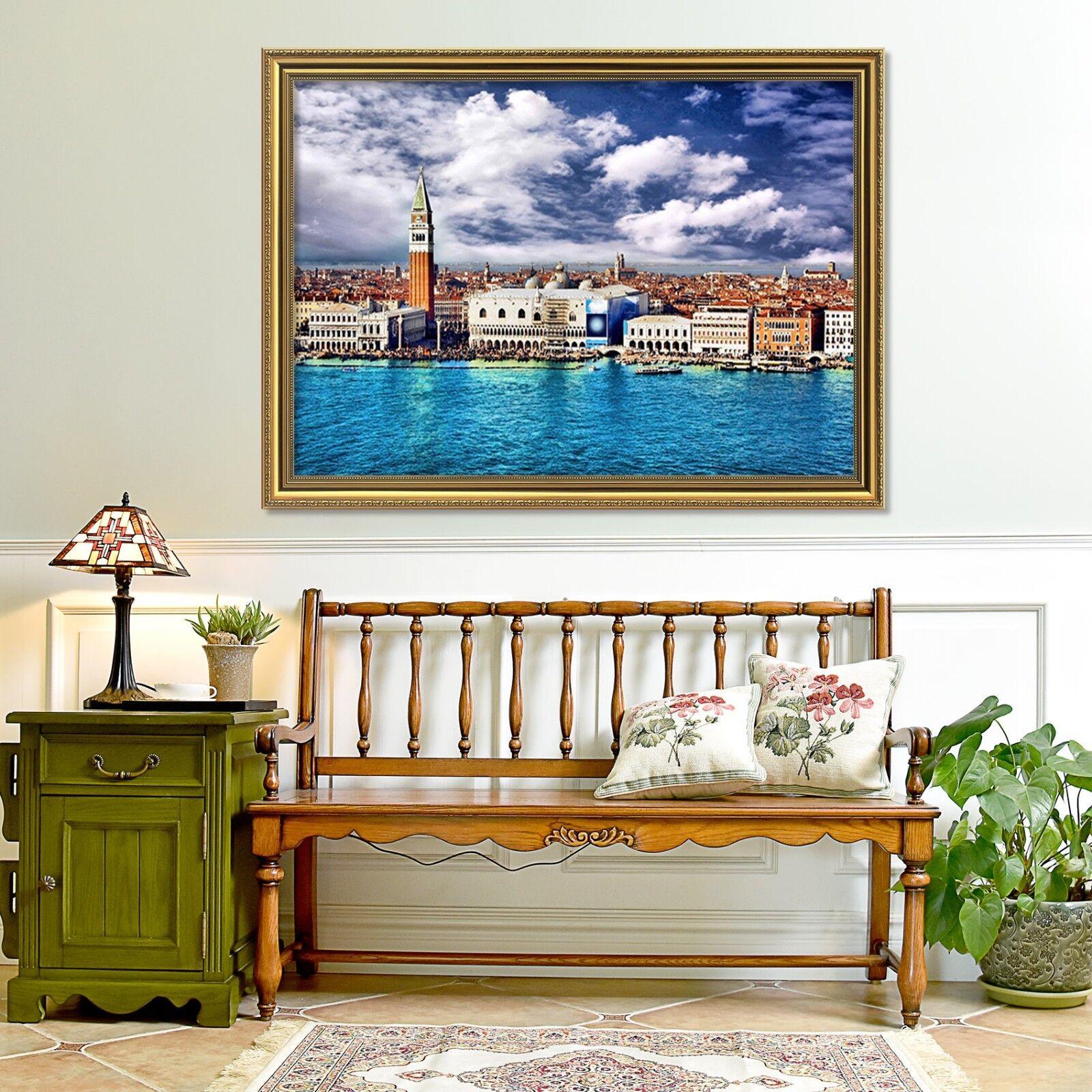 3D bluee City 4 Framed Poster Home Decor Print Painting Art AJ WALLPAPER AU
