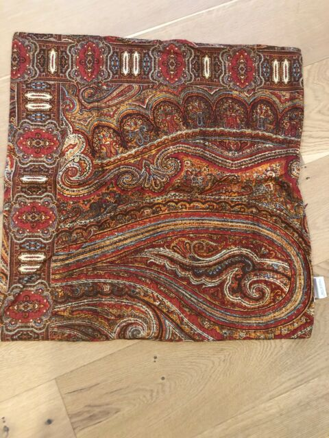 Pottery Barn Pillow Cover Red Paisley Wool Cotton Blend