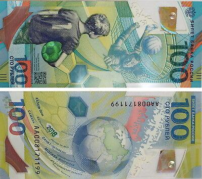 Russia 100 Rubles x 5 Pcs 2018 FIFA World Cup Soccer Football P-New Unc