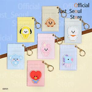Official BTS BT21 Baby Pattern Leather Patch Card Holder Pocket +Freebie +Track