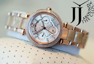 052e291db40 New Michael Kors Parker Pave Rose Gold Tone Acetate Watch MK6512 ...