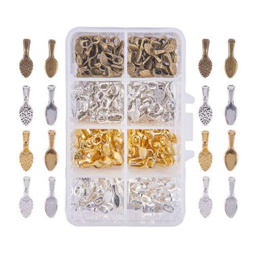 240Pcs Brass Glue-on Flat Pad Bails Leaf Shape Bails Jewelry Pendants Connectors