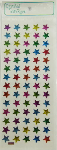 70 pieces Small Pink Blue Green Yellow and Purple Stars Crystal Stickers