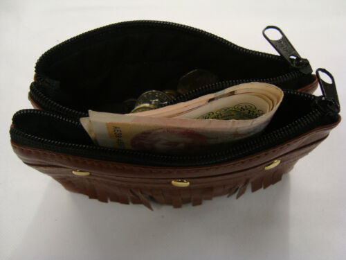 Leather Ladies Matinee Coin Purse with Tassle red Country and Western Style
