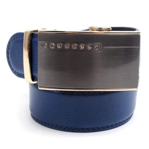 Men's Designer Leather Ratchet Belt Golden /& Crystal Design Automatic Buckle