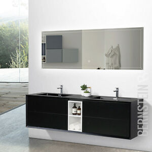 Details zu Badmöbel Set Doppelwaschtisch Waschtisch Schwarz matt Innenregal  Weiß 190cm