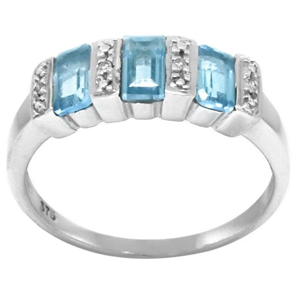Natural 0.91ct bluee Topaz & Diamond 9ct 9K 375 Solid White gold Ring