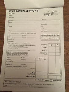 used car sales invoice receipt books ebay