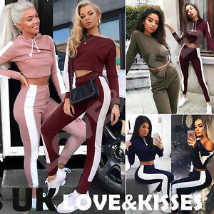 Da-Donna-UK-Set-2-Pcs-tute-Donna-a-Righe-Active-Sport-Abbigliamento-Taglia-6-14