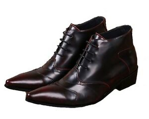 Fulinken-Size-5-12-Burgundy-Leather-Pointed-Ankle-Boots-Mens-Dress-Formal-Shoes