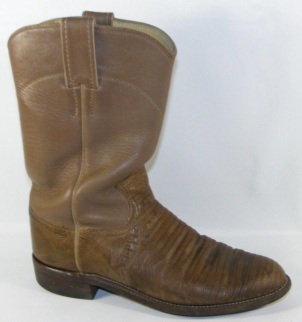 Justin Damens Taupe Tan 5.5 B  Stiefel Lizard Leder Western Cowboy Roper L3712