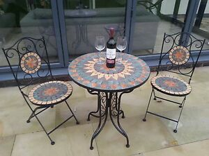 Image Is Loading Mozaic Tiled Bistro Set 4 Chairs French
