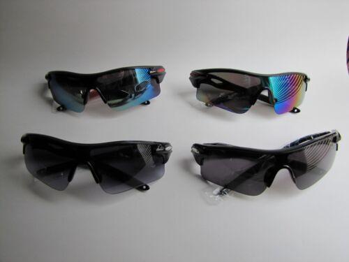 New Mens Black-Red Sport Sunglasses w//Blue-Smoke-Rainbow Lens