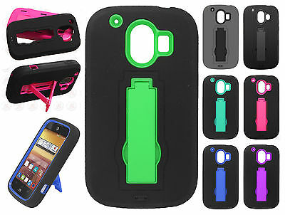 For AT&T ZTE Compel Z830 IMPACT Hard Rubber Case Cover Kickstand +Screen Guard