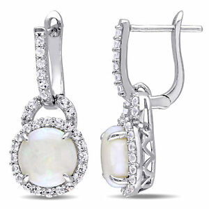 Amour Sterling Silver Opal and White Topaz Halo Dangle Earrings