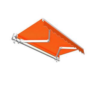 Gelenkarmmarkise-Basic-250-x-150-cm-Stoff-orange-Uni-Markise-Sonnenschutz-B-Ware