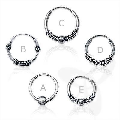 925 Silber Ohrringe Keltische CREOLE SINGLE//PAAR Gothic mit Muster Bali 10mm