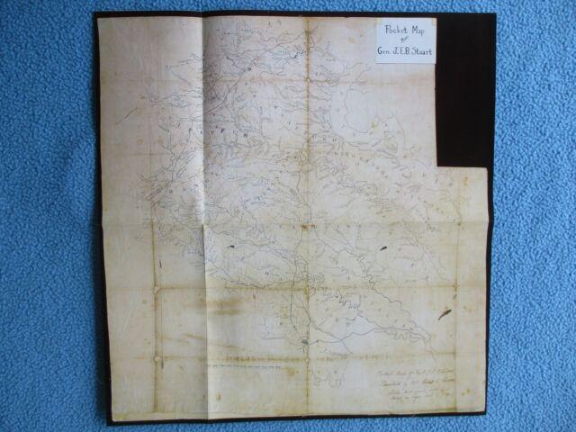Civil War Map -Pocket Map of Confederate Cavalry General J.E.B. Stuart -FEW LEFT