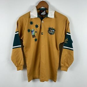 Wallabies-Rugby-Union-Boys-Jersey-Size-12-Vintage-Made-In-Australia-Long-Sleeve
