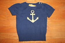 NWT Gymboree Cape Cod Cutie Size 7-8 Navy Blue Gold Anchor Sweater