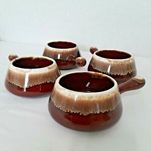 Vintage McCoy Bowls With Handle 7054 Brown Drip Glaze Set of 4 Made in USA