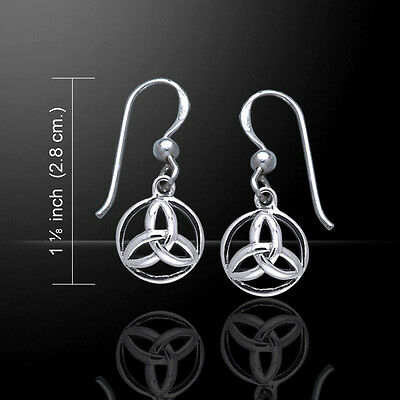 Angel in Celtic Triquetra Trinity .925 Sterling Silver Earrings by Peter Stone