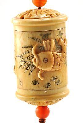 Vintage Bone Baby Boy Inro Netsuke Box Hanging Charm Case Storage Pouch Agate