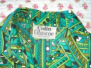 Vintage-1960-70s-Colin-Glascoe-Green-Geometric-Print-Dress-amp-Hot-Pants-Outfit