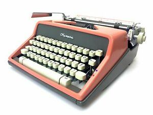 1962 PINK Olympia SM7 Typewriter w/Case Working Portable Vtg Antique Pica
