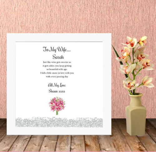 Personalised High Quality Box Frame Print Wife Fiance Valentines Gift Present,