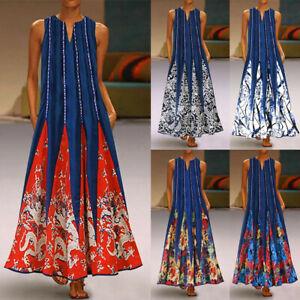 S-5XL-Women-Print-Daily-Casual-Sleeveless-Vintage-Bohemian-V-Neck-Maxi-Dress-UK