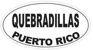 Quebradillas Puerto Rico Oval Bumper Sticker or Helmet Sticker D4149