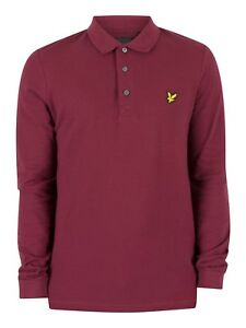 66aa04d8 100% GENUINE LYLE AND SCOTT SIZE S LS POLO SHIRT CLARET JUG DARK RED ...