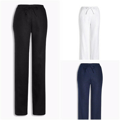 BNWT NEXT NEW Ladies navy blue straight parallel leg linen blend trousers tall