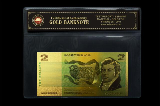 COLOURED AUSTRALIAN PAPER $2.00 24KT GOLD FOIL 999.9 GOLD BANK NOTE COA PACK