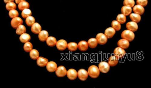 """Natural 8-9mm Orange Baroque Pearl Long Necklace for Women Jewelry 40/"""" nec6276"""