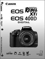 Canon Rebel Xti Eos 400d Digital Camera User Instruction Guide Manual