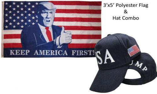 3/'x5/' USA Trump Keep America First Flag /& USA Trump 45th Pres Navy Blue Hat