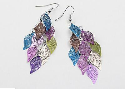 Fashion Womens Elegant Bohemian Ear Hook Hollow Leaves Dangle Earrings  BUUS