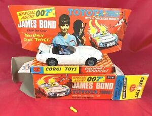 Corgi #336 de James Bond 007 Toyota 2000GT con Caja Original-Envío Usa