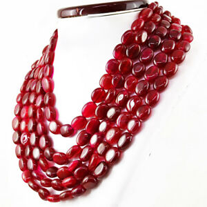 RS Amazing 1558.00 Cts Earth Mined Oval Shape 5 Strand Red Ruby Beads Necklace