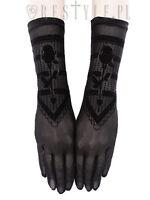 Restyle Black Roses Long Black Mesh Gloves Elegant Gothic Victorian