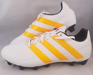 Adidas Ace 16.4 FXG Soccer Cleats Women s Size 10 White Yellow ... 33db2198f1