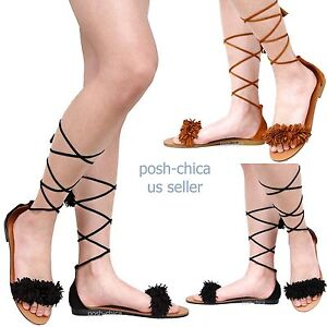 Details about New Women Fmd57 Black Tan Fringe Lace Up Flat Sandals