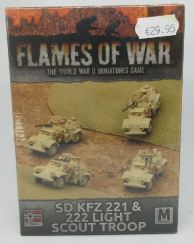 "Flames of War mint in Box /"" SD KFz 221 /& 222 Light Scout Troop /"" NEU /& OVP"